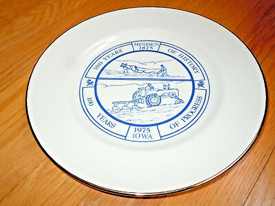 Minden Iowa 1975 Commemorative Plate 1875-1975 100 Years Of History