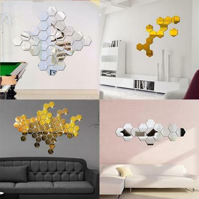 Wall Stickers 12pcs 3d Mirror Hexagon Vinyl Removable Decal Home