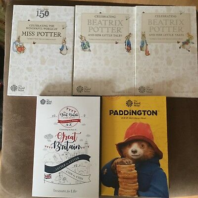 2016-2018 Beatrix Potter 50p Fifty Pence Collector Album Folder 10p Pence Coin