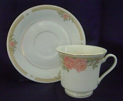 Lynns Fine China Tea Cup and Saucer Set Melody White with Roses