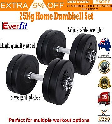 25KG Dumbbell Set Weight Dumbbells Plates Adjustabe Home Gym Fitness Exercise