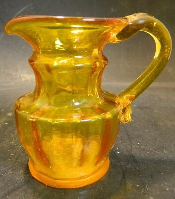 Vintage Hand Blown Amber Glass Pitcher Applied Clear Handle Excellent Condition