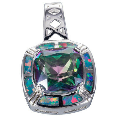Starburst Round Mystic Topaz Teal Blue Fire Opal Silver Necklace Pendant