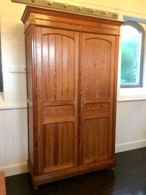 Large Antique Knock Down Pitch Pine Double Wardrobe
