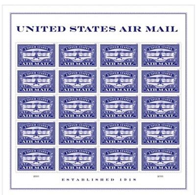 Blue United States Airmail Sheet of 20 Forever USPS First Class one Ounce Post