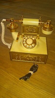 Vintage 1970s? Western Electric French Look Up Myra Gold Deco Rotary Phone