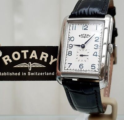 Mens Rotary Watch Rectangular Black leather , Easy to read RRP£230 Boxed (r52