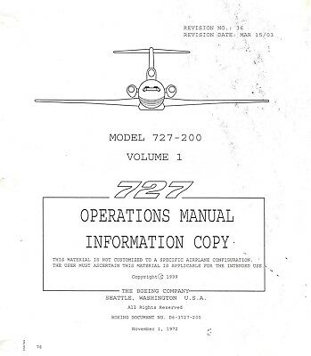 Boeing 727-200 Ops Manual, Vol 1 & 2