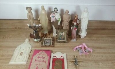 Vintage Lot of 16 Catholic Altar Items of Jesus, Virgin Mary, and other