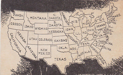 United States Map Postcard 1940's