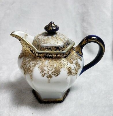 Vintage Hand Painted Nippon 1 Cup Individual Teapot with Raised Gold Beading