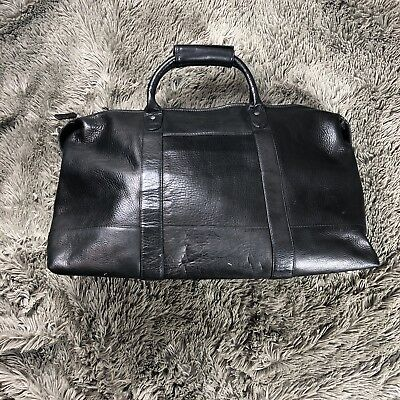 $250 Latico Leather Carriage Duffle Bag Travel Weekender Black Made in Colombia