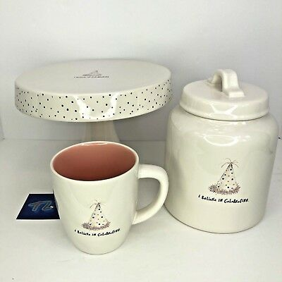 "Rae Dunn ""I Believe in Celebrating"" Set of 3: Cake Stand, Mug, Canister"