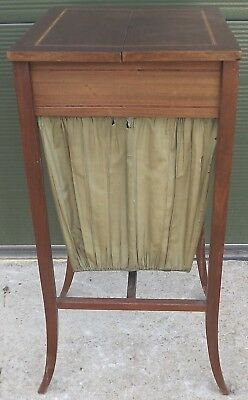 Antique Victorian Inlaid Mahogany Fold-Open Sewing Work Cabinet