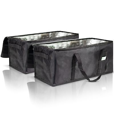 Premium Insulated Food Delivery Bags Set of 2 - Waterproof Restaurant Deliver...