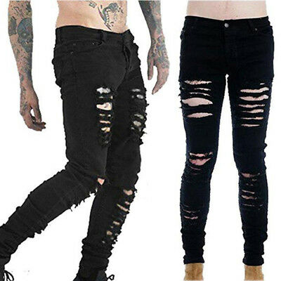 Punk Mens Skinny Jeans Ripped Fit Stretch Denim Distress Frayed Biker Jeans Boys