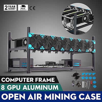 Aluminum Coin Open Air Miner Mining Frame Rig Case Up to 8 GPU BTC ETH Ethereum