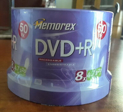 Memorex Recordable DVD+R 8x 4.8GB 120 Min 50 Pack Spindle NIB