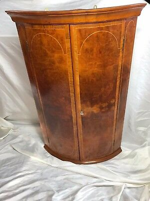 Antique Victorian 19th Century Satinwood Inlaid Bow Fronted Corner Cupboard