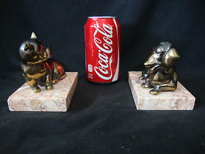 Vintage Set Of Dog & Cat Bronzed Sculptures On Marble Bases