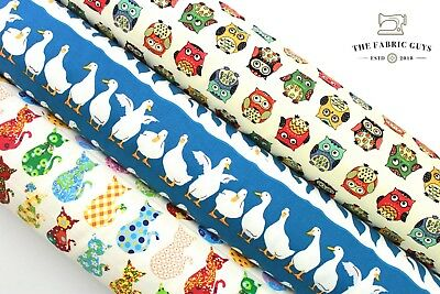 """Cotton Upholstery Canvas Fabric, Animals Ducks Owls Cats Print, 60"""",High Quality"""