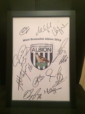 West Bromwich Albion,West Brom NEW 2018/19 Hand Signed Framed A4 Autograph Sheet