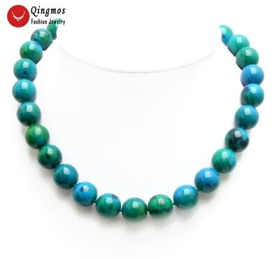"14mm Round Green Chrysocolla Chokers Necklace for Women Fine Jewelry 17"" nec6478"