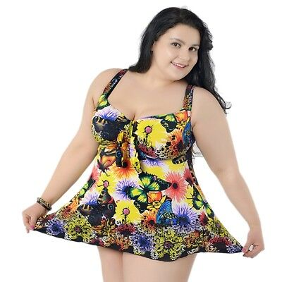 Women Swimsuit Printed Swimdress Two Piece Swimwear Sexy Bathing Suit Plus Size