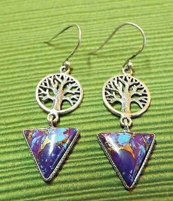 * PURPLE COPPER TURQUOISE TREE-OF-LIFE* EARRINGS, .925 Solid Sterling Silver