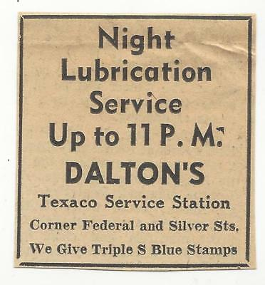 vtg GREENFIELD MA UNUSUAL AD DALTON'S night lubrication TEXACO SERVICE STATION