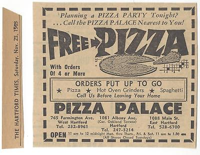 vtg PIZZA PALACE 1960s EAST WEST HARTFORD NEWSPAPER AD grinders spaghetti