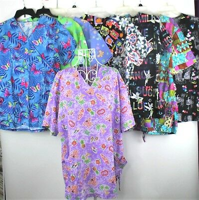 Lot Of 9 Scrub Tops Ladies Size Large Minnie Mouse Tinkerbell Rainbows Tropical