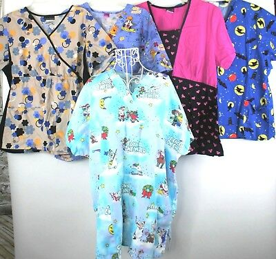 Lot Of 5 Scrub Tops Ladies Size XL Christmas Halloween Pink Panther Floral Nurse