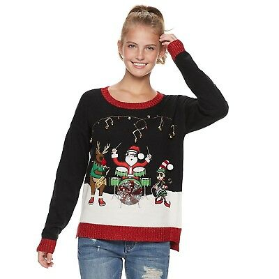 5f92be805a0 Santa Musical Trio Christmas Ugly Sweater XS Juniors' It's Our Time Holiday