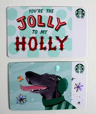 Starbucks Gift Card Lot Holiday Dog Jolly To My Holly Limited Edition New 2018