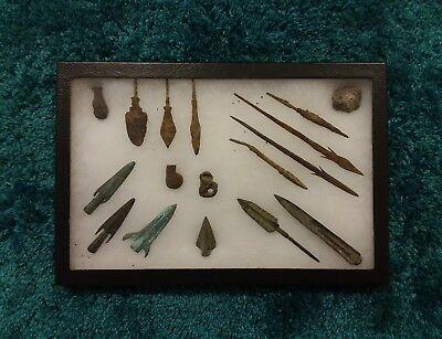 RARE Ancient Roman Empire Greek Arrowheads Artifact Framed Museum Collection Old