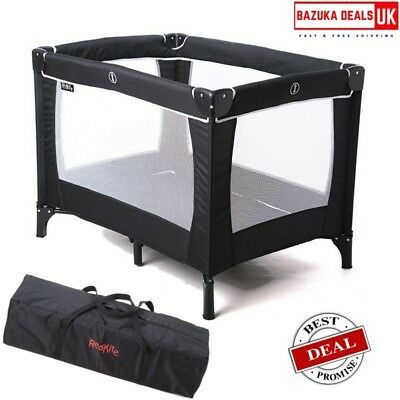 Baby Travel Cot with Mattress & Carry Bag Folding Crib Bed Playpen Sleeptight UK