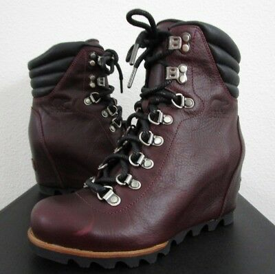 1cf55996089c Womens Sorel Conquest Wedge Lux Leather Ankle Wedge Anthropologie Boots -  Wine