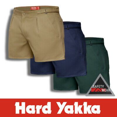 Hard Yakka Y05340 Cotton Drill Leg Work Short Shorts w Metal Side Tabs Stubbies