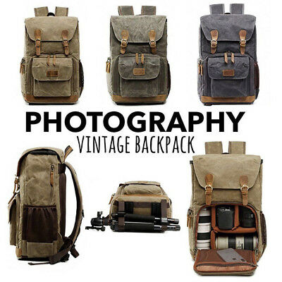 Premium Vintage Photography Backpack Waterproof Photography Canvas Bag