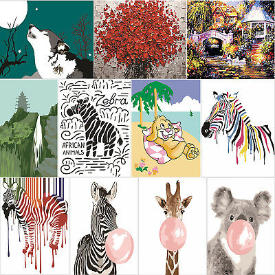 3D Animal Coloring Paint By Numbers Oil Painting Canvas Picture Wall Decor Kits