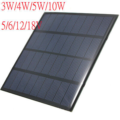 Monocrystalline Solar Panel DIY Cell Battery Charger &Wire 3W/4W/5W/10W 5/12/18V