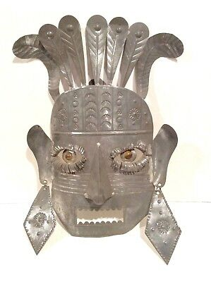 Mexican Tin Mask, Glass Eyes, late 1960's, Folk Art