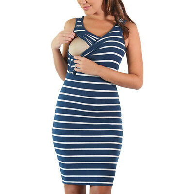 Women Maternity Dress Nursing Pregnancy Breastfeeding Vest Striped Jumper Dress