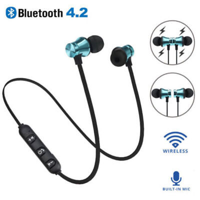 Bluetooth 4.2 Sports In-Ear Wireless Earphones Stereo Headphones Headsets w/ Mic