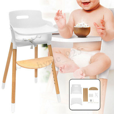 Baby Wooden High Chair Feeding Highchair Seat Safety Belt With Tray Adjustable