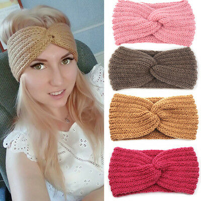Women Bow Turban Knitted Headwrap Hair Band Winter Ear Warmer Headband Novelty