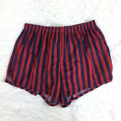 Sports Network Vintage Red Blue Striped Underwear Lined Running Shorts Trunks L