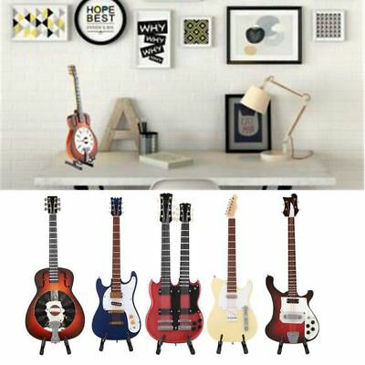 Mini Guitar Miniature Wooden Musical Instruments Model + Support Home Decoration