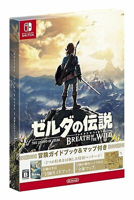 NEW Nintendo Switch The Legend of Zelda Breath of the Wild w/ Guide Book & Map